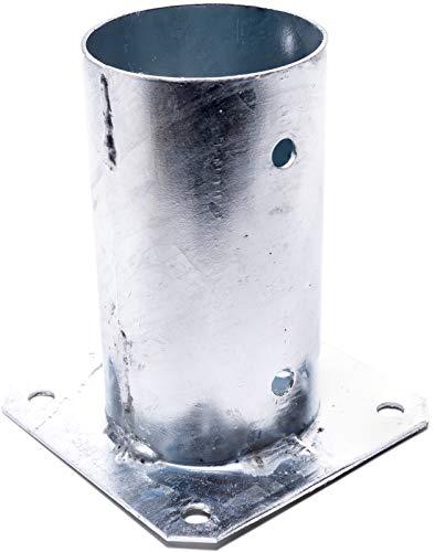 KOTARBAU® Aufschraubhülse Ø 81 mm für Rundholzpfosten Pfostenträger Bodenhülse Rund Zaunträger Hülse Feuerverzinkt Bodenplatte Anker