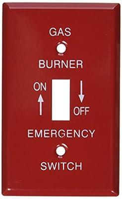 Morris 83496 Emergency Metal Switch Plate, Gas, 1 Gang, Red