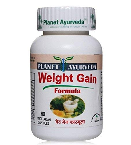 Planet Ayurveda Underweight Herbal Remedy – Weight Gain Formula  Blend of Traditional Herbs  Boost Energy Level  60 Veg Gelatin Free Capsules Each, Pack of 1