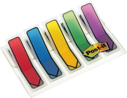 Post-it 684ARR1 Haftstreifen Index Pfeile, 11,9 x 43,2 mm, rot, gelb, grün, blau, lila, 5 x 20 Streifen im Etui