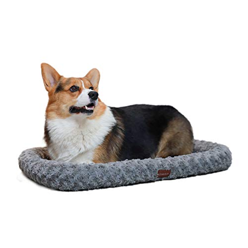 "KEMULUS Bolster Dog Crate Bed Small Medium Large Plush Warmer Dog Kennel Bed Mat Anti-Slip Cat Crate Mat Textured Pet Crate Mat Bed Washable Dog Sleeping Bed Mat for Metal Crates(20""/28""/35"")"