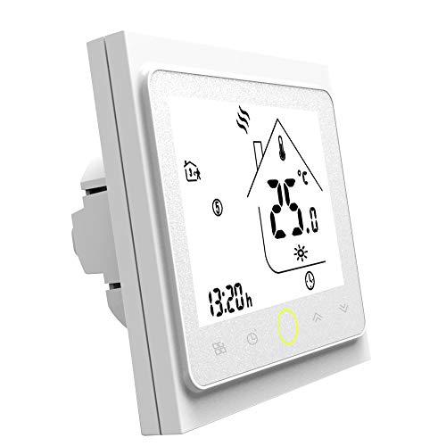 Termostato WiFi per Caldaia a Gas,Termostato Caldaia Schermo LCD Touch Button Retroilluminato Programmabile con Alexa e Telefono APP-Bianco
