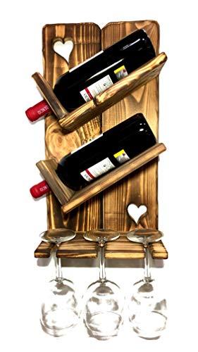 Botellero de Madera para Vino - Rústico y Hecho a Mano, para Pared - Decoración para Colección de Vinos, Vinoteca, Cava