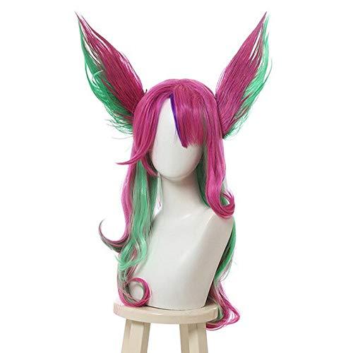 JPDP Peluca de correo electrónico L LoL Xayah Pelucas de cosplay Star Guardians Peluca de cosplay verde rosa larga con orejas Cabello sintético resistente al calor de Halloween 25 pulgadas Color Muli