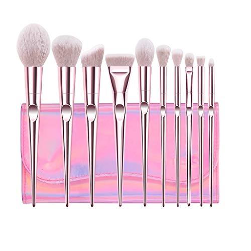 Set de pinceaux de Maquillage Professional Pack de 10 pinceaux de Maquillage Roses Base de synthèse de Pointe pour pinceaux à poudres Mix Blush Correcteur Yeux pour pinceaux