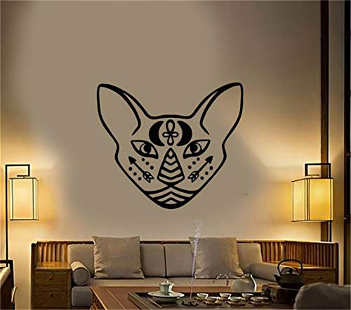 Jaklot-decals Vinly Art Decal Words Quotes Cartoon Wall Decal Stickers Egyptian Sphynx Cat Pet Head Moon Arrows Tattoo