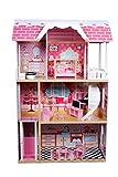Calma Dragon Casa de Muñecas TNWX-5239, de Madera con Muebles Incluidos, Mansion para muñecas, 3 Pisos para muñecas de 30cm, con Ascensor y Escaleras 11 Accesorios.