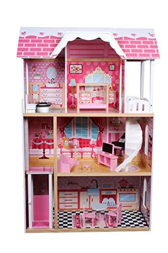 Calma Dragon Casa de Muñecas TNWX-5239, de Madera con Muebles Incluidos, Mansion para muñecas, 3 Pisos para muñecas de 30cm, con Ascensor y Escaleras 11 Accesorios, 122cm de Altura