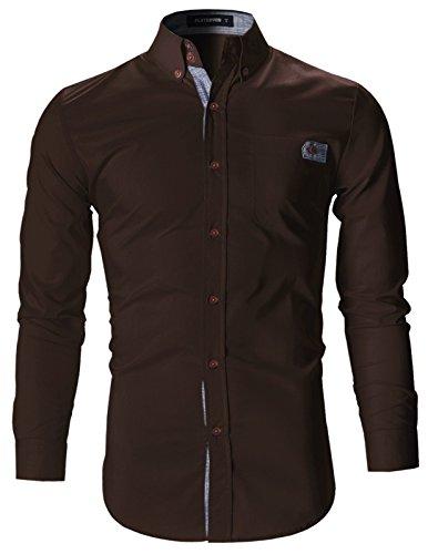 FLATSEVEN Mens Slim Fit Plaid Pointed Casual Dress Shirts (SH1780) Brown, L