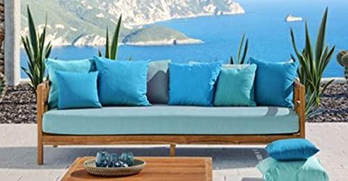 Casa Padrino sofá de jardín de Lujo de Madera Maciza marrón/Azul Claro 220 x 94 x A. 65 cm - Sofá de Teca Resistente a la Intemperie con Almohadas - Muebles de Jardín y Terraza - Calidad de Lujo