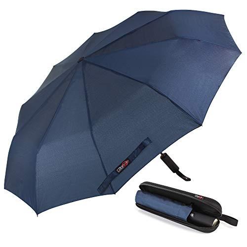 Ombrello Portatile Automatico Antivento, CABIN GO 4450 Ombrello Pieghevole Compatto Resistente Leggero con Custodia Impermeabile e 10 Stecche rinforzate Ombrello da Viaggio