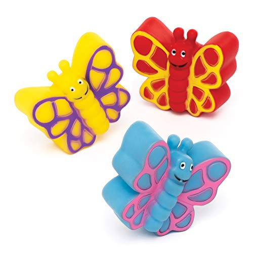 Baker Ross- Mariposas que lanzan agua (Pack de 4) Juguetes de goma que flotan con diseños variados ideales para la hora del baño o para actividades acuáticas