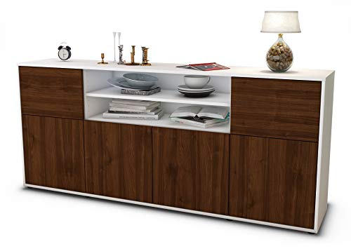 Stil.Zeit Sideboard Emilia/Korpus Weiss matt/Front Holz-Design Walnuss (180x79x35cm) Push-to-Open Technik