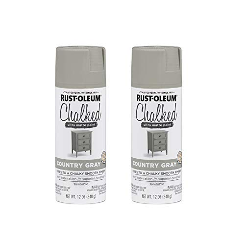 Rust-Oleum 302593A2 Chalked Ultra Matte Spray Paint, 2 Pack, Country Gray, 24 Ounce