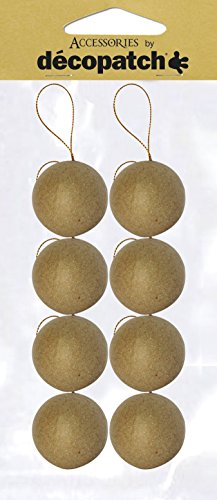 Décopatch NO007O Weihnachtskugel S aus Pappmaché, 5 x 5 x 5 cm, zum Verzieren und Aufhängen, perfekt für Weihnachtsdeko, Kartonbraun, 8er Set