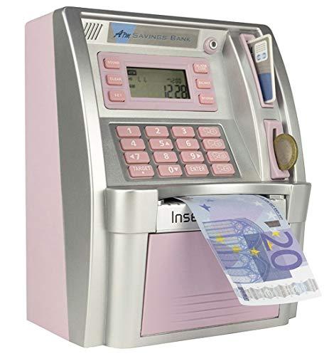 LB Geldbank Geldautomat Sparbank Elektronischer digitaler Geldautomat Spardose für Münzen und Scheine,Mini Sparschwein,Rosa(Euro Version)