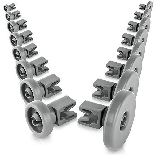 Spülmaschinen-Rollen Set für Oberkorb & Unterkorb - Universal Korbrollen für viele Spülmaschinen Geschirrspüler Ersatzteile Zubehör - 48 Monate Garantie & Geld zurück