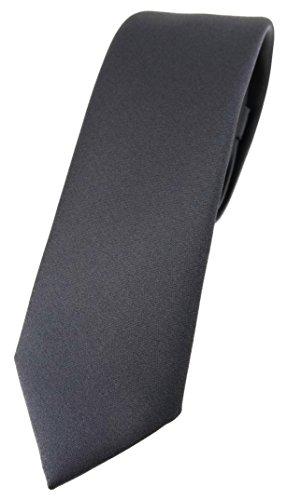 TigerTie schmale Designer Krawatte in anthrazit einfarbig Uni - Tie Schlips