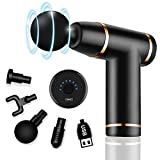Massage Gun Deep Tissue Percussion Massager for Muscle Relaxation and Neck Back Soreness Pain Relief-4 Massage Heads and 8 Speed,Electric Handheld Massager for Men/Women(Black)