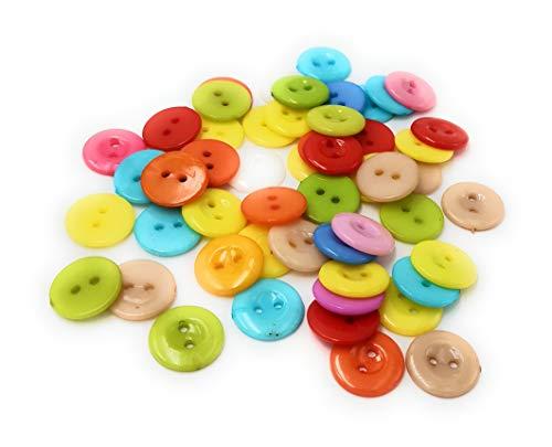 50 botones de plástico coloridos de resina de resina en diferentes tamaños para manualidades, botones de plástico, cortar, coser tamaño a elegir (15 mm)