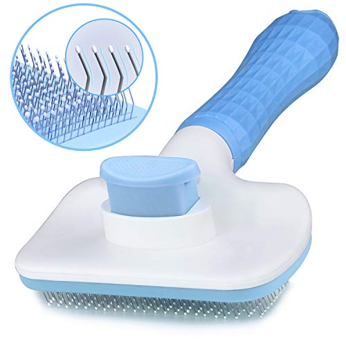 Self Cleaning Slicker Brush for Dogs and Cats,Pet Grooming Tool,Removes Undercoat,Shedding Mats and Tangled Hair ,Dander,Dirt, Massages particle,Improves Circulation (Blue)