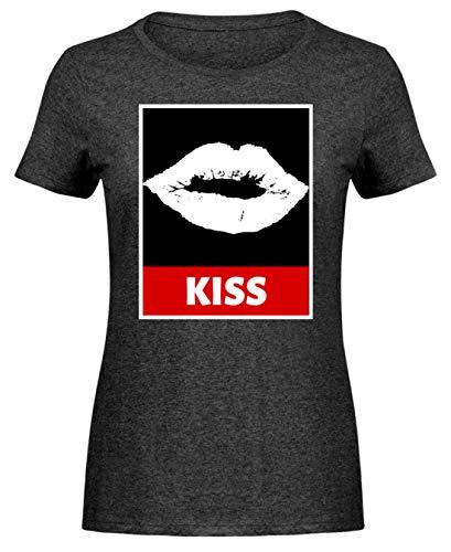 SPIRITSHIRTSHOP Kiss Kuss - Camiseta para Mujer, diseño de corazón Color Gris Oscuro Jaspeado. XXL