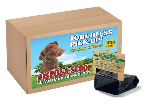 HealthPro Dispoz-A-Scoop – No Touch, Sanitary Dog Poop Scoopers – 500 Pack