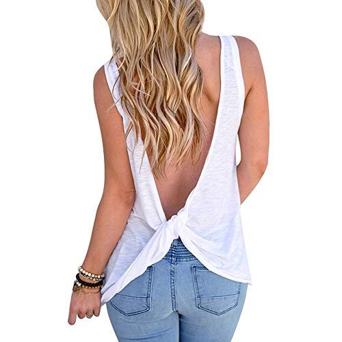 OrientalPort Camiseta de tirantes para mujer, sexy, espalda descubierta, camiseta de verano, casual, gimnasio, yoga, con nudo giratorio Blanco L - XL