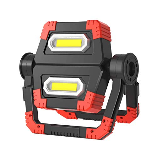 LED Arbeitsleuchte, T-SUN Campinglampe LED USB Wiederaufladbare Tragbar Outdoor Flutlicht mit COB1000 Lumen, 3600mAh Powerbank, Dimmbar Baustrahler für tromausfällen, Zelt, Camping, Notfall usw