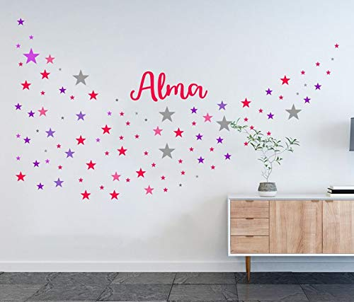 Wandtattoo Set 130 Sterne Name Alma Girl Mädchen Kind Wand Aufkleber sticker bunt Wandbild Wandsticker deko Kinderzimmer 11NS011