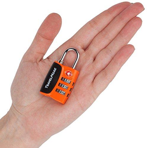 2 Pack TravelMore TSA Luggage Padlocks – 3 Digit Combination Travel Locks  – Orange