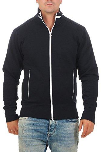 Happy Clothing Herren Sweatjacke sportlich ohne Kapuze - gestreifte Trainingsjacke - Sweatshirtjacke - Zip-Jacke Reißverschluss mit Kragen, Größe:M, Farbe:Dunkelblau