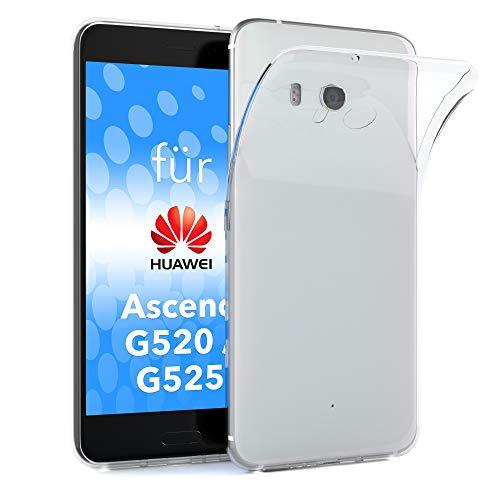 EAZY CASE Hülle kompatibel mit Huawei Ascend G520 / G525 Schutzhülle Silikon, Ultra dünn, Slimcover, Handyhülle, Silikonhülle, Backcover, Durchsichtig, Klar Transparent