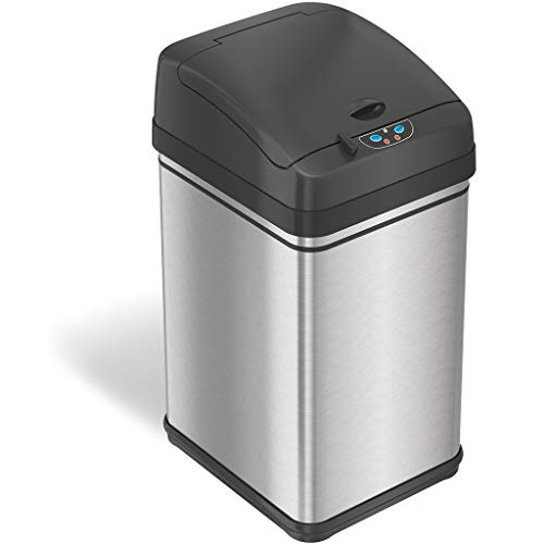 iTouchless 8 Gallon Pet-Proof Sensor Trash Can with AbsorbX Odor Filter Kitchen Garbage Bin Prevents Dogs Cats Opening Lid Stainless Steel plus PetGuard Battery and AC Adapter Not Included