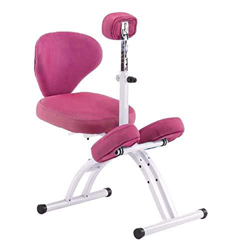 Bseack Kniestuhl Orthopädischer Stuhl für Kinder mit Heben von Brustschutzer ergonomischer Knienstuhl mit Rückenlehne höhenverstellbarer Hausstudentenschreibstuhl (Color : Pink)