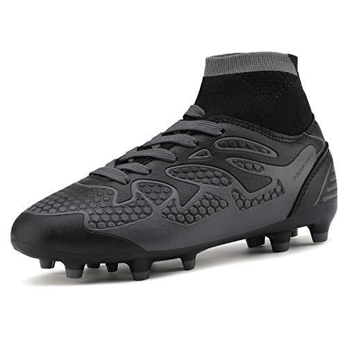 DREAM PAIRS Little Kid 160858-K Black Dark Grey Fashion Soccer Football Cleats Shoes Size 13 M US Little Kid