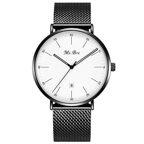 Orologio da uomo Reloj Ultra Delgado para Hombre, Reloj de Cuarzo Casual Impermeable para Hombres de Negocios con Banda de Malla de Acero Inoxidable (Color : A)