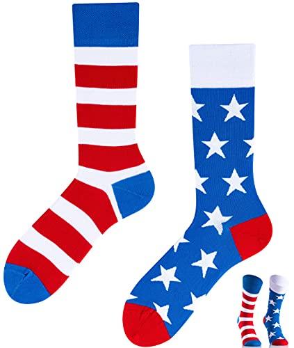 TODO Colours Lustige Socken mit Motiv - Mehrfarbige, Bunte, Verrückte für Herren und Damen (39-42, Amerika to Go)