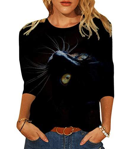 Tomwell Damen Sweatshirt Langarmshirt Mit Katzenmotiv Tierdruck Oberteile Herbst Winter Rundhals Bluse Casual Loose Pullover Shirts Hemd Stil I XL