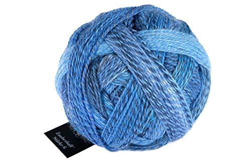 Schoppel Zauberball Stärke 6, 2438 Indigo, 150 Gramm, bunte, dicke Sockenwolle 6-fädig mit Farbverlauf, Socken stricken, häkeln