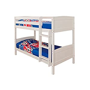 Comfy Living 3ft Single Bunk Bed White Wash Finish Solid Pine Wood Christopher