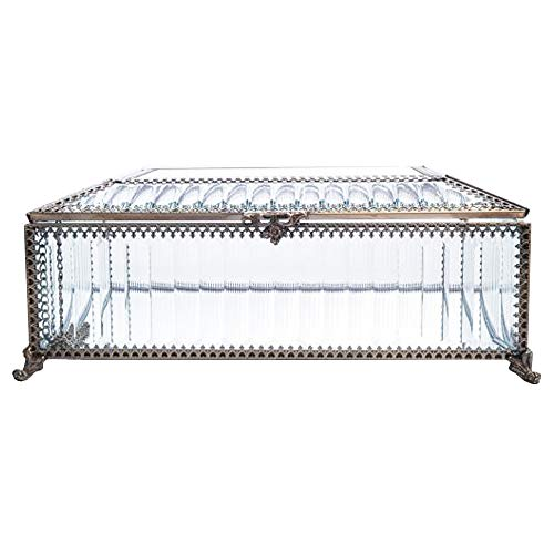 Antique Glass Jewelry Organizer with Lid/ Classic Drawer Storage Display Box with Removeable Velvet Divider Compartment Rings/Necklace/Earring/Bangles/Bathroom accessories/Beauty Ornaments Dust-proof