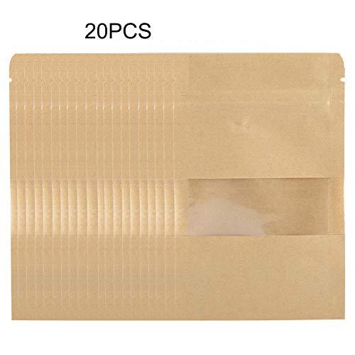 SH-RuiDu Direct Winkel 20 stks Kraft Paper Bag Pouch Stand Up Koffie Voedsel Rits Lock Verpakking met Raam 12 * 20CM 12 * 20CM Shown as Pictures