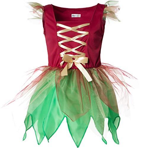 dressforfun 900346 - Disfraz de Chica Elfo del Bosque, Vestido en Verde y Rojo Brillante(164 | No. 301721)