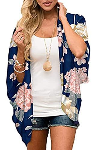 Yutdeng Kimonos Mujer Camisolas Casual Ropa de Playa Pareos Retro Impreso Cardigan Verano Manga 3/4 Tops Blusa Floral Suelta Vacaciones Playa Chal