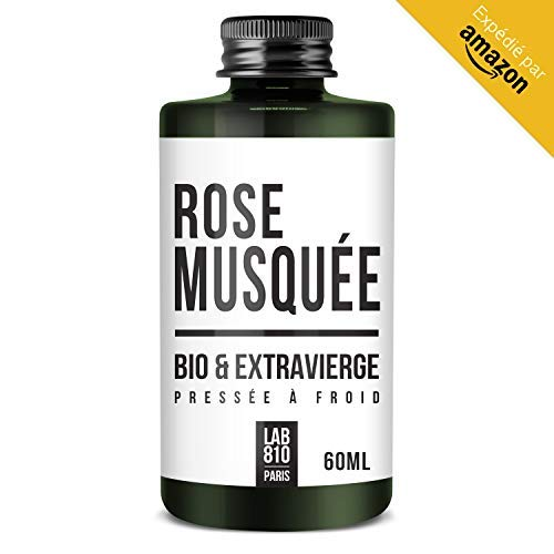 Huile de Rose Musquée BIO 100% Pure et Naturelle, Pressée à Froid & Extra Vierge. Soin réparateur Cheveux, Anti-Age. Hydrate les cheveux et raffermit la Peau. (60ml)