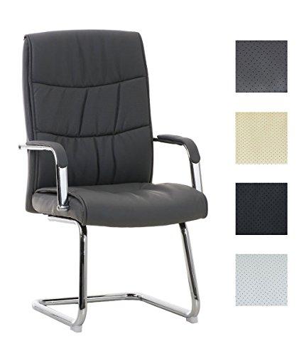 Freischwinger Caro mit hochwertiger Polsterung und Kunstlederbezug I Gepolsterter Konferenzstuhl mit Armlehne I Chefsessel mit Bodenschonern, Farbe:grau