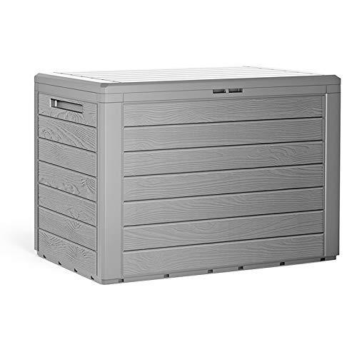 Auflagenbox Kunststoff Holzoptik Griffe klappbarer Deckel Truhe Balkonbox Gartenbox Kissenbox Balkon Garten grau
