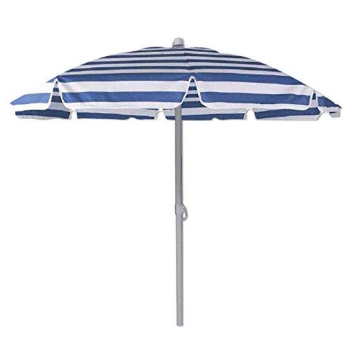 WEBMARKETPOINT Ombrellone Spiaggia Diametro cm 180 Colore Blu e Bianco Custodia a Tracolla