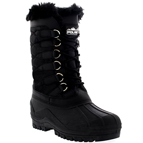Damen Nylon Kaltes Wetter Im Freien Schnee Ente Winter Regen Pelz Cuff Lace Stiefel - Schwarz - BLK39 AYC0132